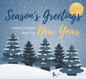 Trees in snow - happy holidays message