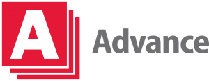 "Three diagonally stacked red squares with white outlines. White letter A inside top square. The word ""Advance"" is next to the squares."